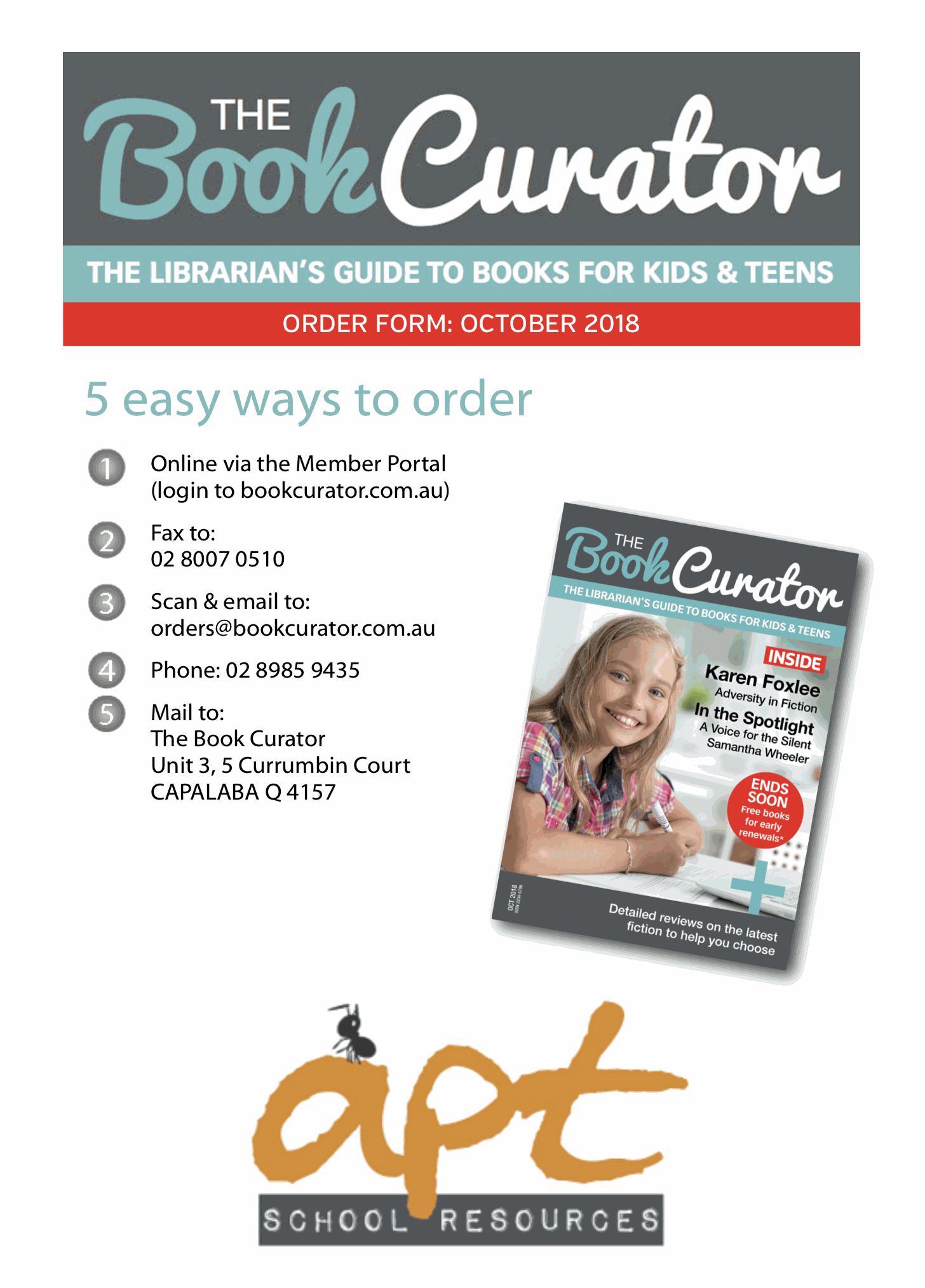 2018-order-forms-pdfs | The Book Curator Magazine and Membership Service